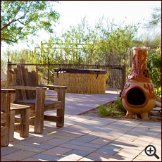 Spencer's Garden, chiminea, and hot tub